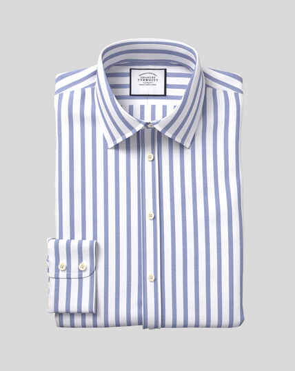 Classic Collar Cotton Stretch with TENCEL™ Stripe Shirt - Royal Blue