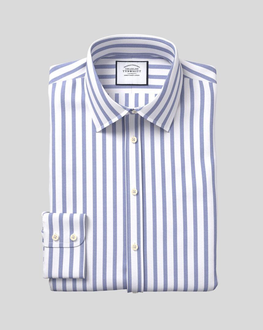 Classic Collar Cotton Stretch with TENCEL™ Stripe Shirt - Royal Blue