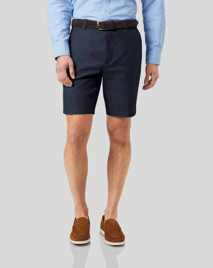 Cotton Linen Shorts - Navy