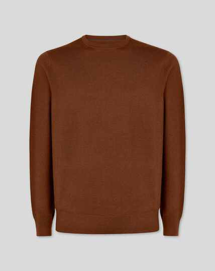 Brown merino crew neck jumper