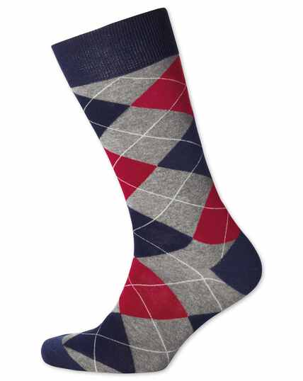 Grey and red argyle socks