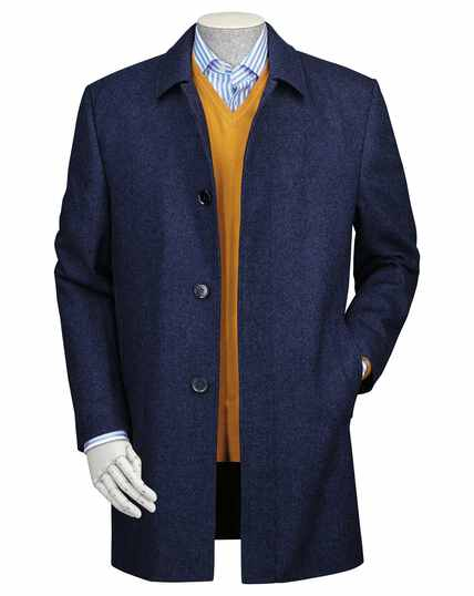 Blue wool car coat