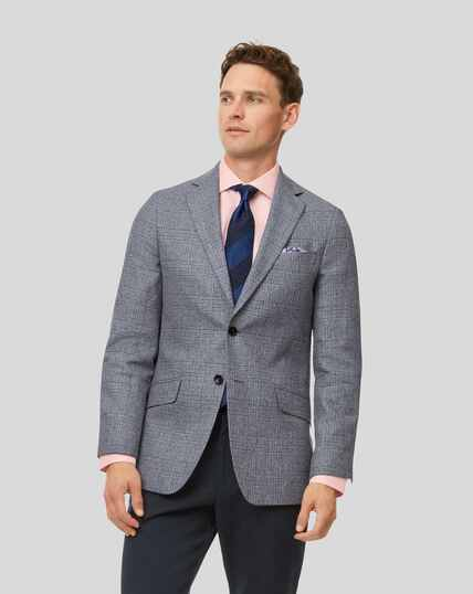 Prince Of Wales Check Wool Linen Mix Jacket - Light Blue