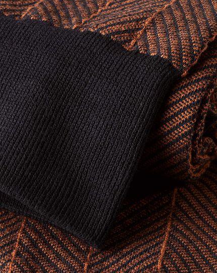 Jacquard-Socken mit Fischgrätmuster - Marineblau & Orange