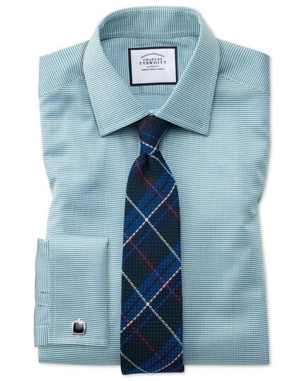 Slim fit teal small puppytooth Egyptian cotton shirt