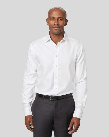 Non-Iron Herringbone Shirt - White