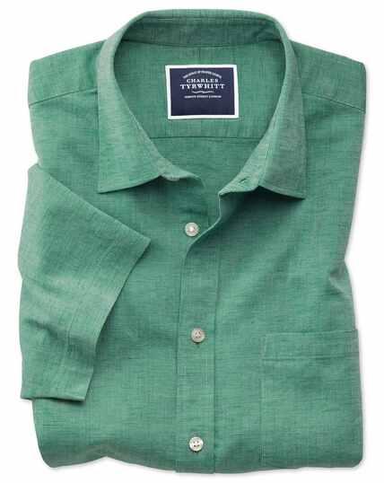 Classic fit green cotton linen short sleeve shirt