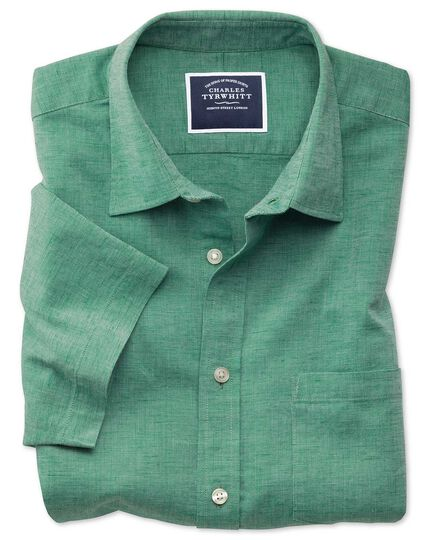 Classic Fit Kurzarmhemd aus Baumwoll-Leinen in Grün