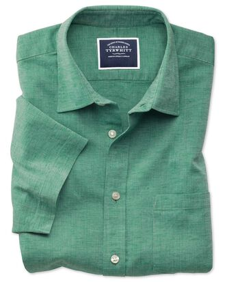 Slim fit green cotton linen short sleeve shirt