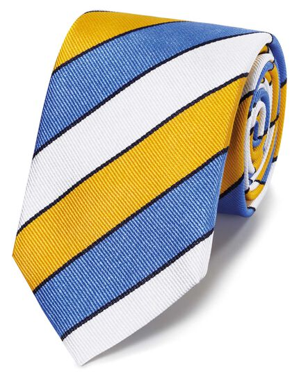 Yellow and sky blue reppe stripe English luxury tie