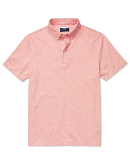 Orange cotton linen polo
