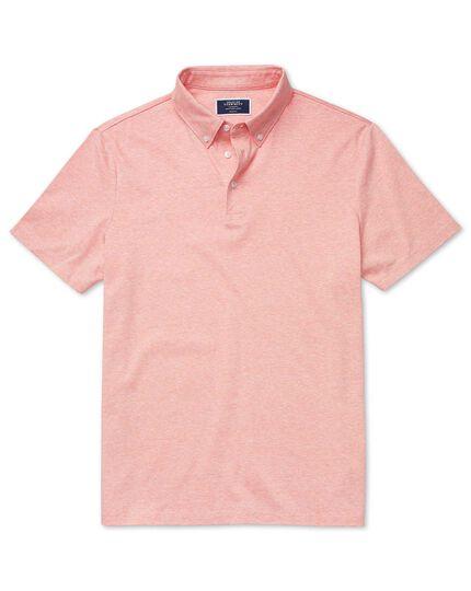 Polo orange en coton et lin