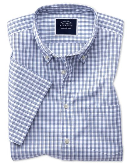 Classic fit navy short sleeve gingham soft washed non-iron Tyrwhitt Cool shirt