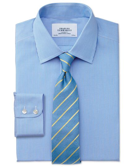 Classic fit non-iron fine stripe blue and white shirt
