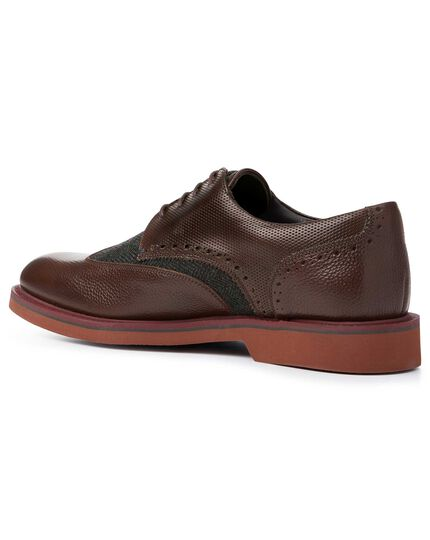 Chocolate and grey extra lightweight Derby wing tip shoes