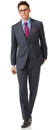 Steel blue classic fit twill business suit