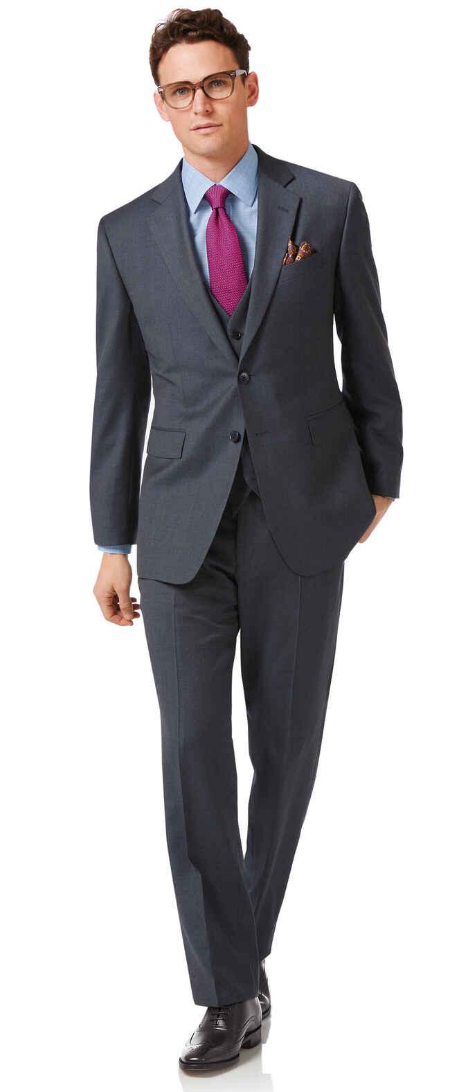 Business-Anzug Classic Fit Twill Stahlblau