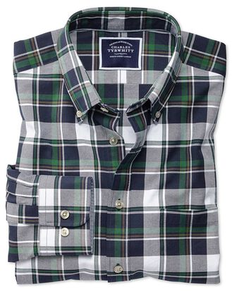 Slim fit navy and green large check washed Oxford shirt