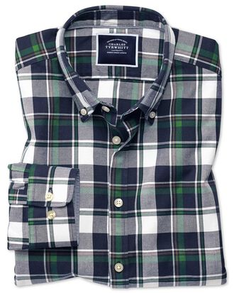 Extra slim fit navy and green large check washed Oxford shirt