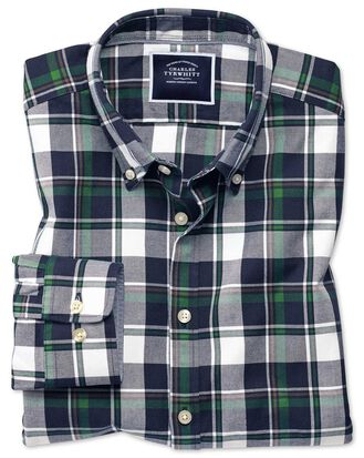 Chemise bleu marine et verte à grands carreaux en oxford délavé extra slim fit