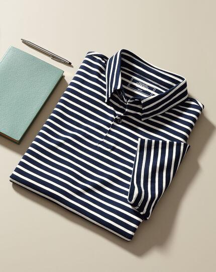 Smartes Jersey-Polo mit Streifen - Marineblau&Ecru