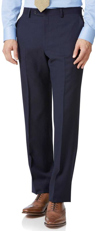 Classic Fit Business Anzug Hose aus Twill in Marineblau