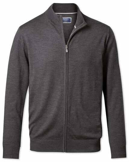 Charcoal merino wool zip front cardigan