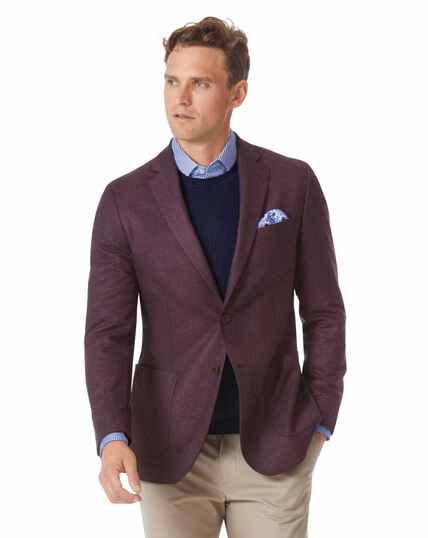 Slim fit berry Italian wool flannel blazer