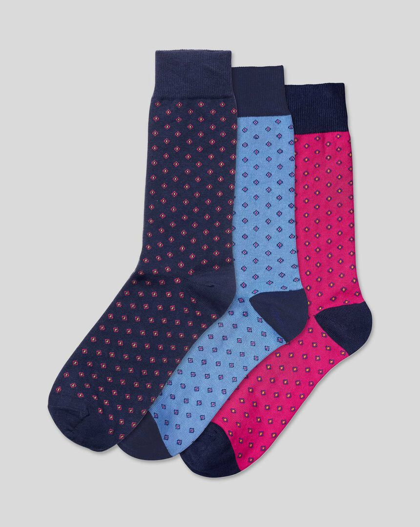 Multi Geo 3 Pack Socks - Navy & Sky