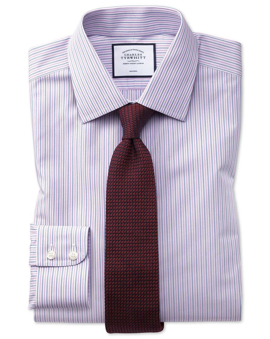 Slim fit non-iron lilac and blue multi stripe shirt