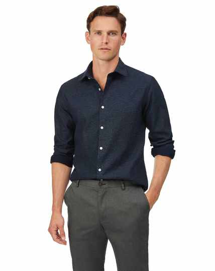 Extra slim fit honeycomb soft washed textured navy shirt