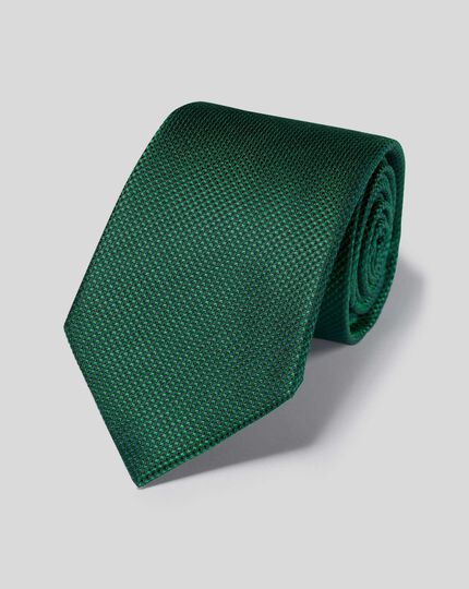 Stain Resistant Silk Textured Plain Classic Tie - Green