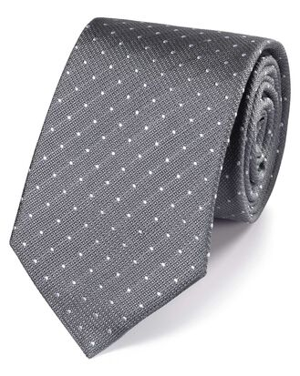 Grey and white silk textured spot classic tie
