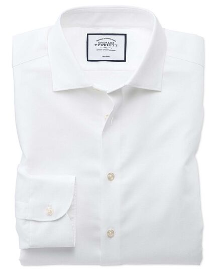 Slim fit business casual non-iron cotton linen white shirt