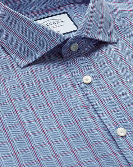 Non-Iron Cutaway Prince Of Wales Check Shirt - Blue And Purple