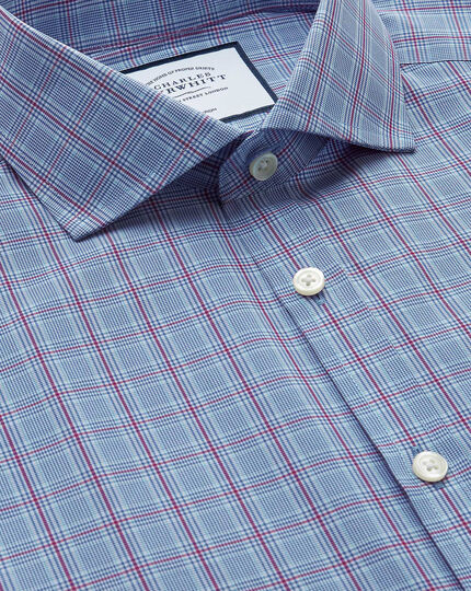 Extra slim fit non-iron cutaway Prince of Wales check blue and purple shirt