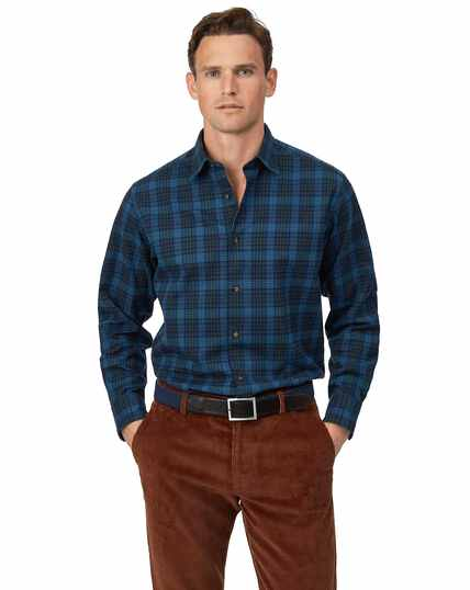Classic fit winter flannel tartan check blue shirt