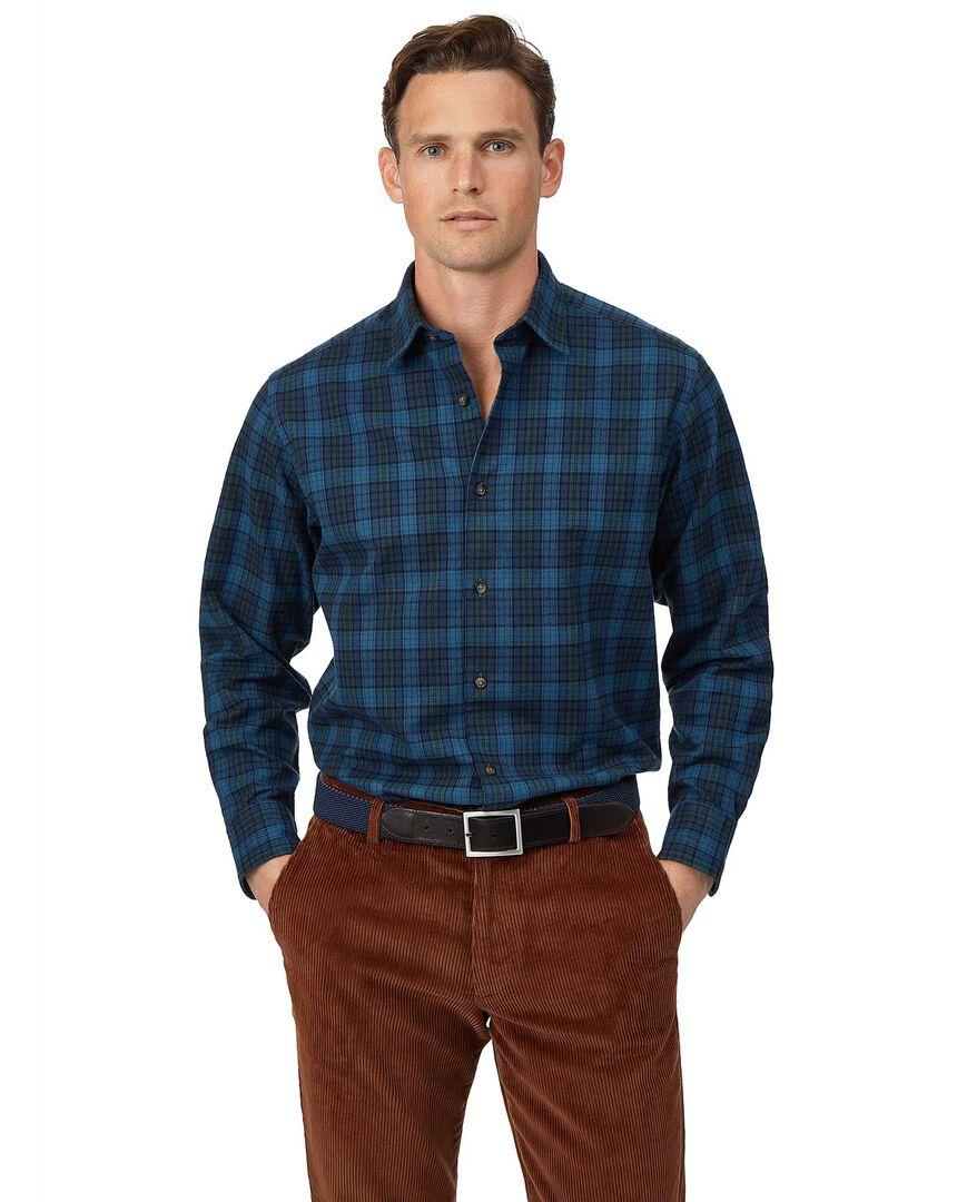 Classic fit winter flannel tartan check blue shirt