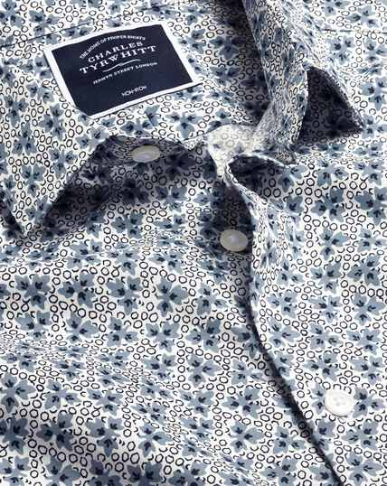 Stretch Poplin Leaf Print Shirt - Blue