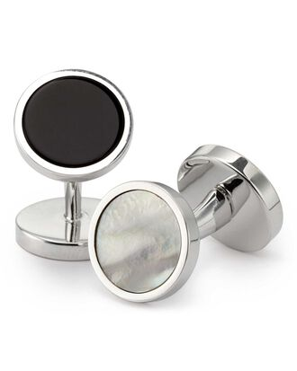 Mother-of-pearl and onyx evening cufflinks
