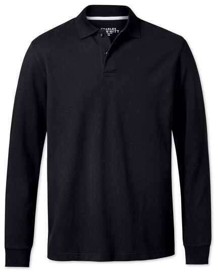Black pique long sleeve polo