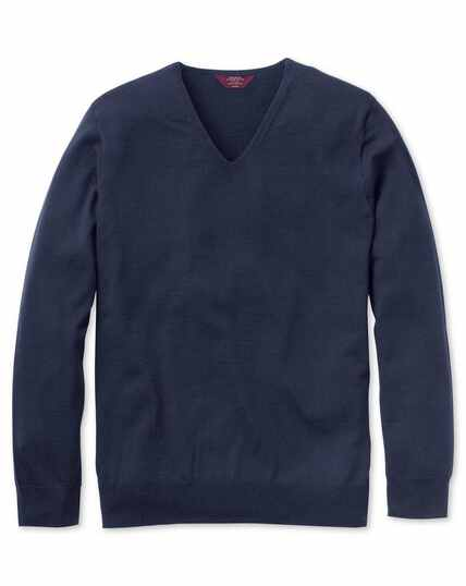 Pull bleu marine en laine mérinos super fine à col V sans coutures
