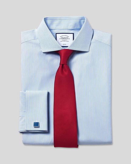 Cutaway Collar Non-Iron Bengal Stripe Shirt - Sky