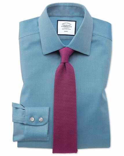 Chemise bleu canard avec armure à chevrons coupe droite sans repassage