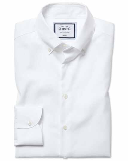 Chemise business casual blanche slim fit sans repassage à col boutonné