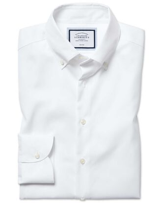 Extra slim fit button-down business casual non-iron white shirt