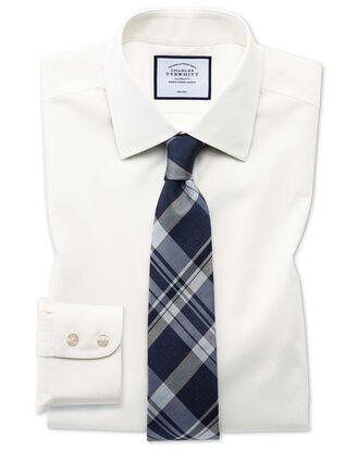 Slim fit non-iron poplin cream shirt