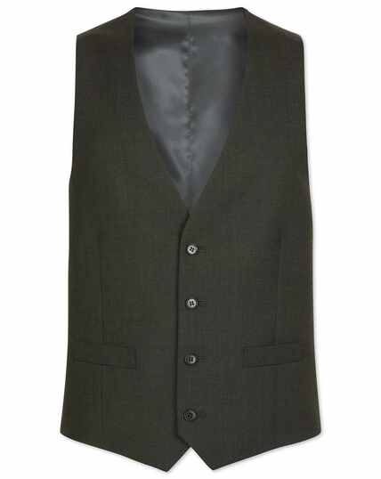 Green adjustable fit merino business suit waistcoat