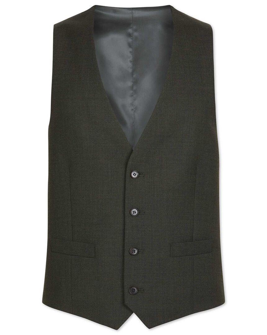 Gilet de costume business vert en laine mérinos coupe ajustable