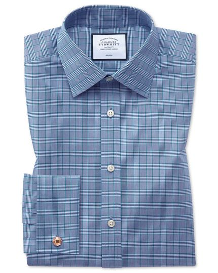 Slim fit non-iron blue and green Prince of Wales check shirt